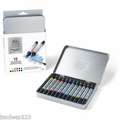 12 Winsor & Newton Watercolour Markers Pens Set Paint Brush Twin Tip Art Supplie