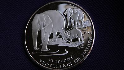 1993 Cambodia 20 Riels Elephants Silver Proof Coin RARE