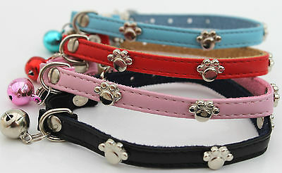 PU Leather Safety Cat Collar, Studded Paw Charm Cat Collar,Cat Collar, Bling