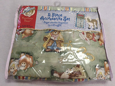 NEW Bandana Bear Diaper Stacker Crib Ruffle Set Cowboy Cowgirl Teddy Horse