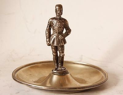 Antique German Silver Tray with Soldier Statue/Figurine c.1860s
