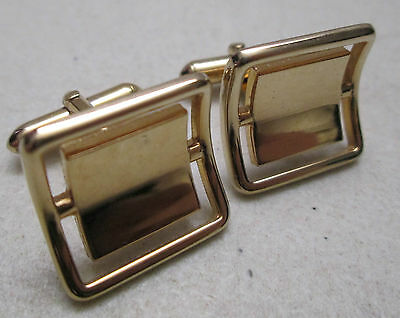 Vintage Swank Cufflinks Curved Gold Tone Square