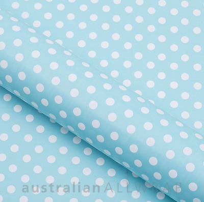 Baby Blue with White Dots Wrapping paper, Counter roll, Gift wrap, 500mm x 50m