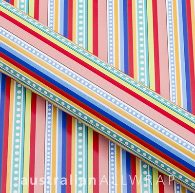 Blue, Green, Red Stripes Wrapping paper, Counter roll, Gift wrap, 500mm x 50m