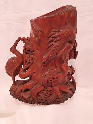 Very Beautiful Large Unique  Chinese Hand Carved Boxwood(?) Brush Pot
