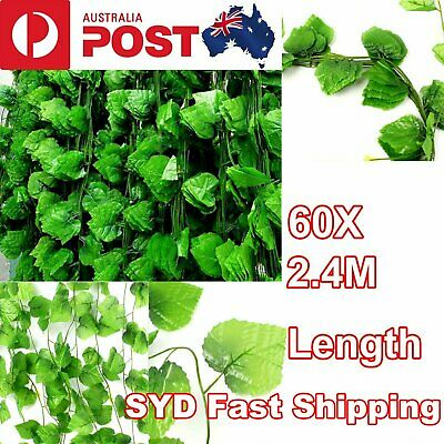 60X 2.4M Artificial Ivy Leaf Vine Plant Garland Fake Foliage Green Wedding Party