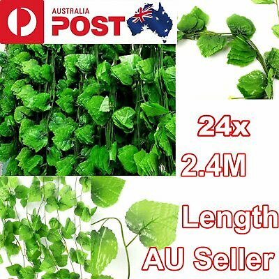 24X 2.4M Artificial Ivy Leaf Vine Plant Garland Fake Foliage Green Wedding Party