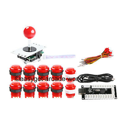 Easyget Arcade DIY Kits Parts USB Encoder + Joystick + 10X LED Light Push Button