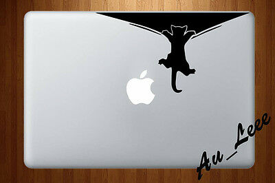 Macbook Air Pro Vinyl Skin Sticker Decal Cute Cat Animal Hanging Falling M959