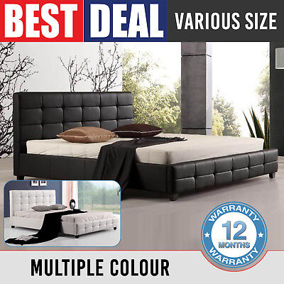 New Bravo Bed Frame Black White Double Queen King Padded PU Leather Slat Base