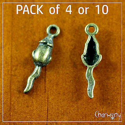 Tiny Bronze Mouse charms ~PACK of 4/10~ mice pendant animal metal bead jewelry