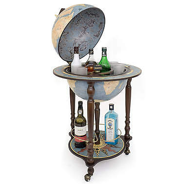 Globe Bar Globe Drinks Cabinet Blue Made in Italy w/ Certificate of Authenticity