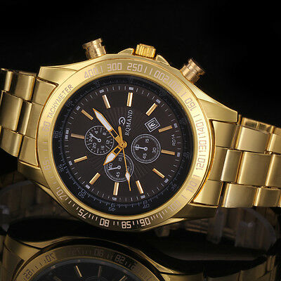 New Men's Date Black Dial Gold Stainless Steel Quartz Analog Sport Wrist Watch