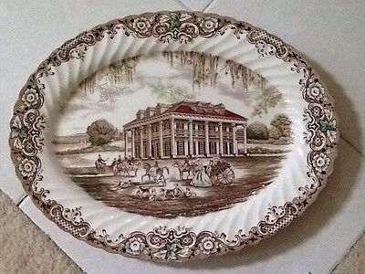 "Johnson Brothers HERITAGE HALL BROWN 14"" Oval Serving Platter 278009"