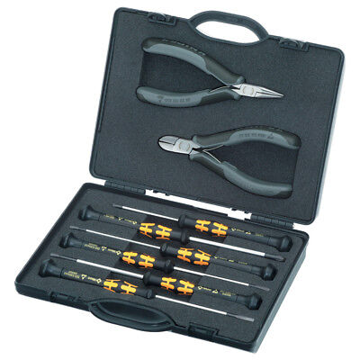 Knipex 00 20 18 ESD Pliers Wera Screwdrivers and Plastic Case Set - 8pc