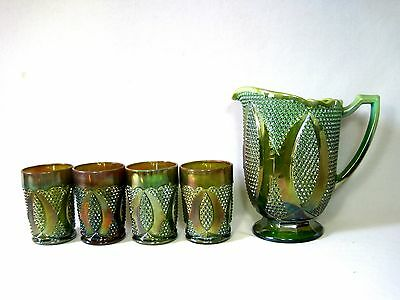 EAPG Westmoreland Green Opelescent Carnival Glass Water Pitcher 5 Piece Set