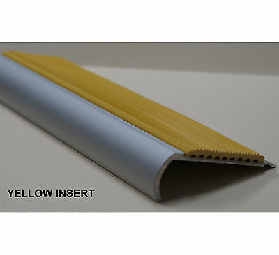 STAIR NOSING-ANODISED ALUMINIUM - 50MM YELLOW RUBBER INSERT- 3.66 METRES - $55ea