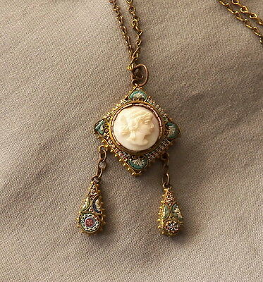 Vintage Antique Micro Mosaic Carved Shell Cameo Necklace with Drops