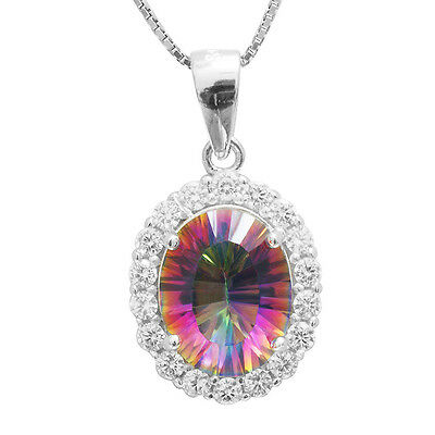 Natural Fire Rainbow Topaz Pendent Necklace Chain Solid 925 Sterling Silver