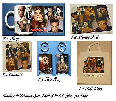 ROBBIE WILLIAMS - GIFT PACK Bundle - MUG Tote Bag Mouse Pad Key Ring Coaster