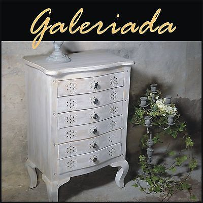 Rectangular chest of 6 drawers cabinet table solid wood leg white India 111