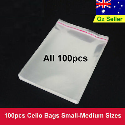 100pcs Small- Medium Sizes Cello Cellophane OPP/BOPP Gift Cards Bags