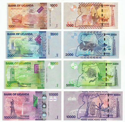 Uganda Set 4 Pcs 1000 2000 5000 10000 Shillings, 2010 2013, P 49 50 51 52, Unc