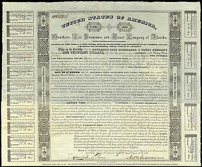 USA: Southern LIfe Insurance and Trust Co. of Florida, $1000/£225 bond, 1839