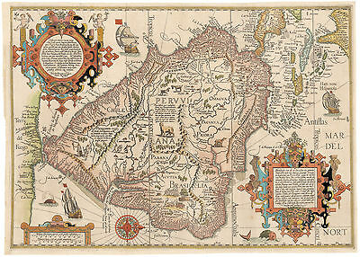 HJB- AntiqueMaps : 1596 Map of South America by Van Linschoten