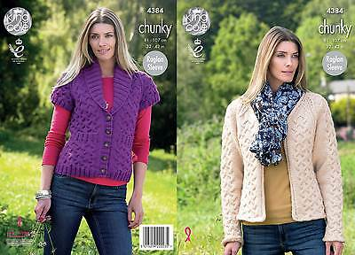 KING COLE 4384 CHUNkY KNITTING PATTERN SIZE 32-42  NOT the  FINISHED GARMENTS