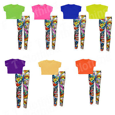 Girls Kids Neon Plain Crop Top Comic Legging Set and Individual Age 5-13 Years