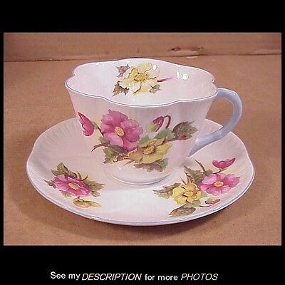 Antique Shelley Bone China Dainty Cup & Saucer Begonia Patten 13427