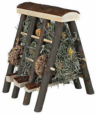 Wooden Hay Rack with Food Hay Marigold Blossom & Seed Rings Rabbit Small Animals