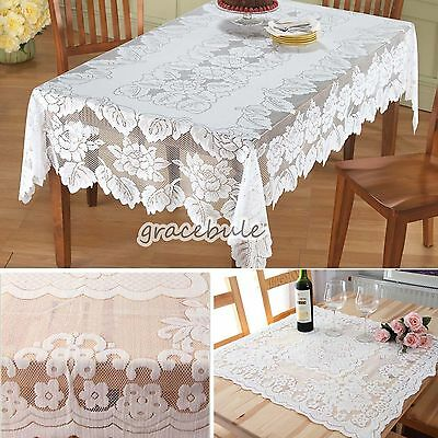 New Ivory Rectangular Lace Tablecloth  For Banquet Party Home Decor