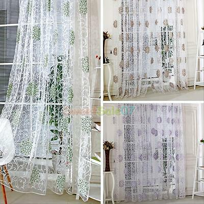 Floral Tulle Voile Door Window Curtain Drape Panel Divider Sheer Scarf Valances