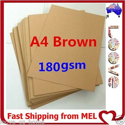 200x A4 180GSM Brown Kraft Paper Sheet Card Natural Recycled Invitation Wedding
