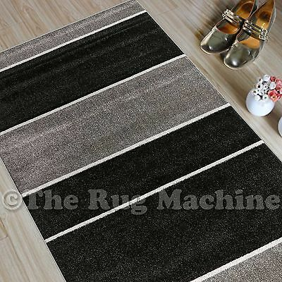 CHICAGO BLACK GREY THICK STRIPES DESIGN MODERN FLOOR RUG RUNNER 80x300cm **NEW**
