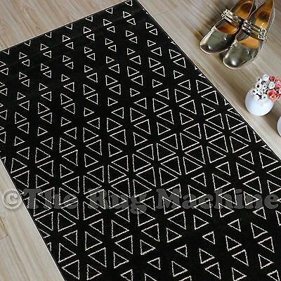 CHICAGO BLACK BEIGE TRIBAL TRIANGLES DESIGN MODERN FLOOR RUG RUNNER 80x300cm NEW