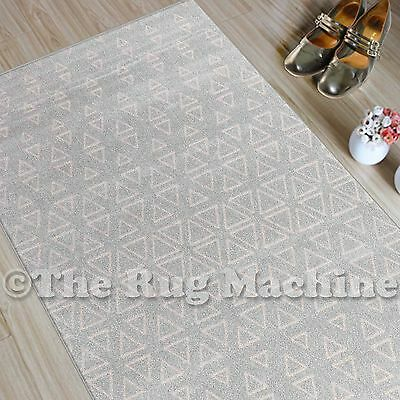 CHICAGO GREY CREAM TRIBAL TRIANGLES DESIGN MODERN FLOOR RUG RUNNER 80x300cm *NEW