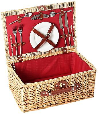 Greenfield Collection Buckingham Willow 2 Person Picnic Hamper - Mulberry Red...