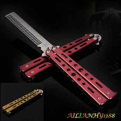 Stainless Steel Balisong Practice Training Butterfly Knife Comb Show prop Tool