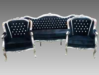 Antique sofa with 2 bergeres in Louis XVI style