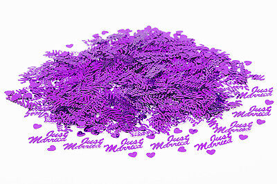 Purple Just Married Wedding Hearts Party Confetti Table Decoration / Sprinkles