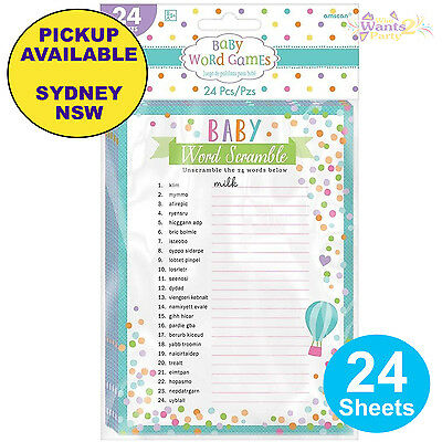 Baby Shower Party Supplies 24 Sheets Word Scramble Search Activity Game
