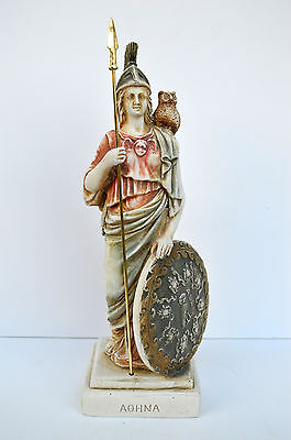 Athena with Owl Goddess of Wisdom Ancient Greek sculpture statue Minerva