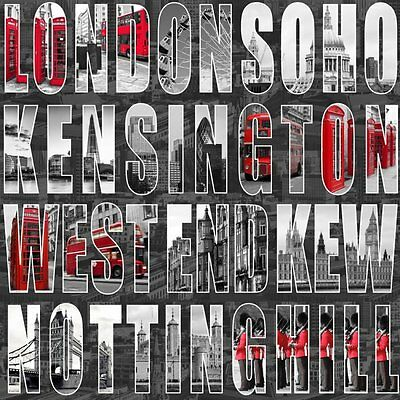 Muriva Letters From London City Wallaper Black / Grey / Red