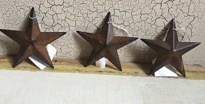 "(Set of 3 ) RUSTY BLACK BARN STARS 3 3/8"" PRIMITIVE RUSTIC COUNTRY DECOR ANTIQUE"
