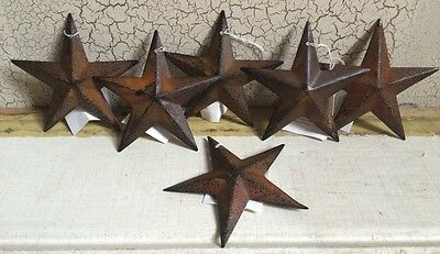 "(Set of 6 ) RUSTY BLACK BARN STARS 3 3/8"" PRIMITIVE RUSTIC COUNTRY DECOR ANTIQUE"