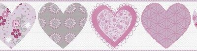 Happy Kids Nursery Childrens Pink Love Hearts Quality Wallpaper Border 05582-10