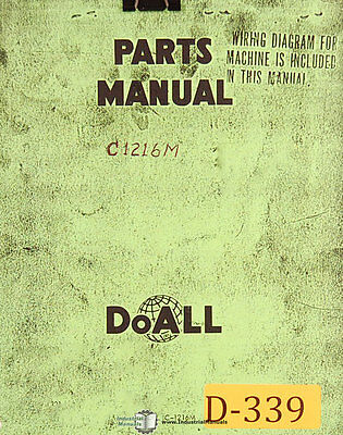 Doall C-1216M, Power Saw Parts and Assemblies Manual
